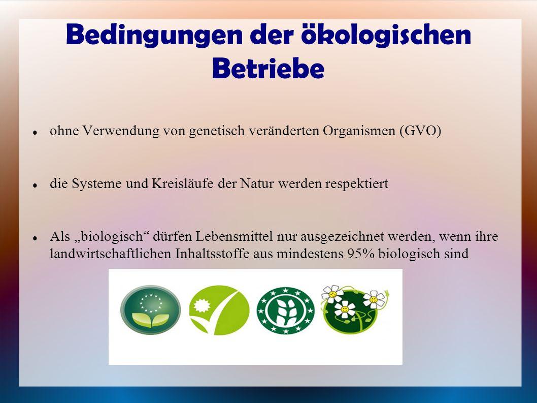 Bedingungen der ökologischen Betriebe ohne Verwendung von genetisch veränderten Organismen (GVO) die Systeme und Kreisläufe der Natur werden respektie