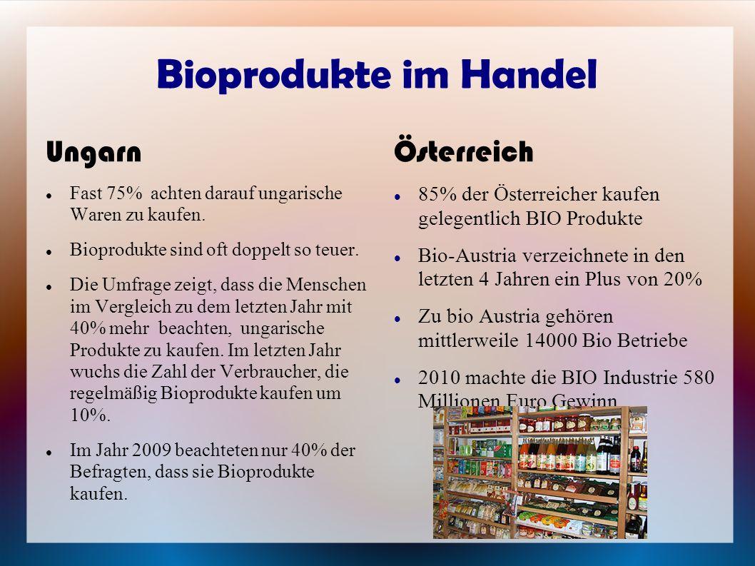 Bioprodukte im Handel Ungarn Fast 75% achten darauf ungarische Waren zu kaufen. Bioprodukte sind oft doppelt so teuer. Die Umfrage zeigt, dass die Men