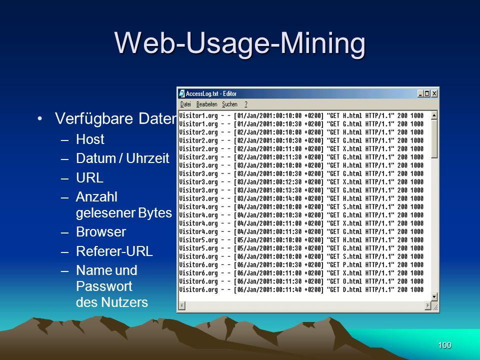 100 Web-Usage-Mining Verfügbare Daten –Host –Datum / Uhrzeit –URL –Anzahl gelesener Bytes –Browser –Referer-URL –Name und Passwort des Nutzers