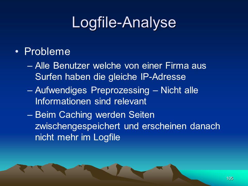 105 Logfile-Analyse Probleme –Alle Benutzer welche von einer Firma aus Surfen haben die gleiche IP-Adresse –Aufwendiges Preprozessing – Nicht alle Inf