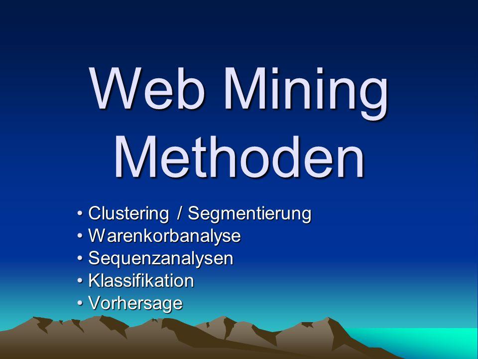 Web Mining Methoden Clustering / Segmentierung Clustering / Segmentierung Warenkorbanalyse Warenkorbanalyse Sequenzanalysen Sequenzanalysen Klassifika