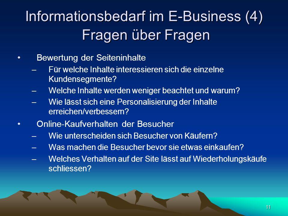 11 Informationsbedarf im E-Business (4) Fragen über Fragen Bewertung der Seiteninhalte –Für welche Inhalte interessieren sich die einzelne Kundensegme