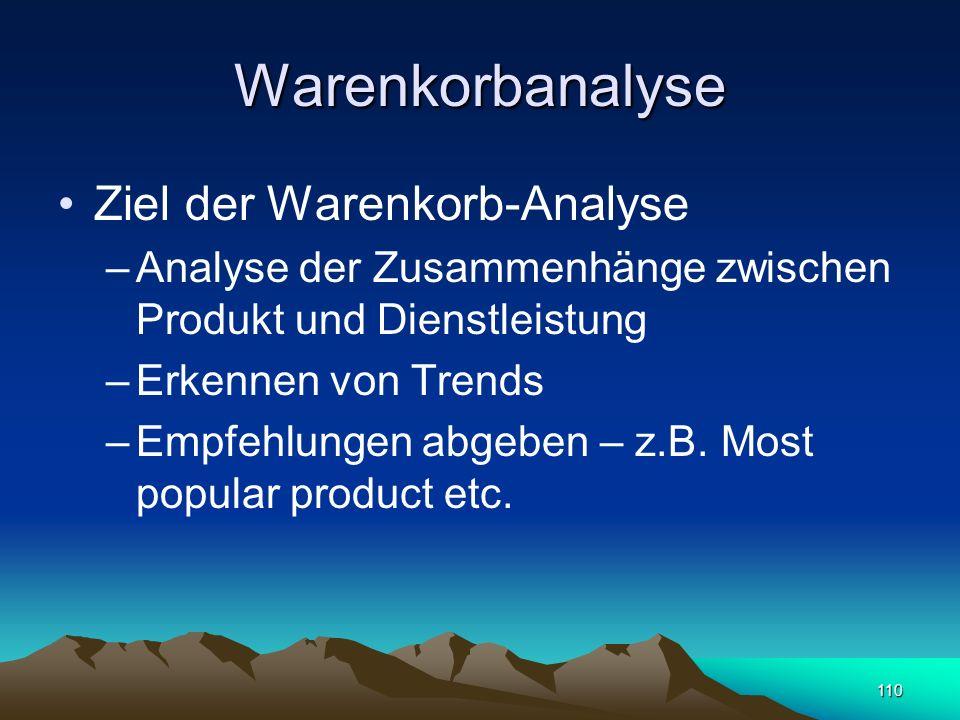 110 Warenkorbanalyse Ziel der Warenkorb-Analyse –Analyse der Zusammenhänge zwischen Produkt und Dienstleistung –Erkennen von Trends –Empfehlungen abge