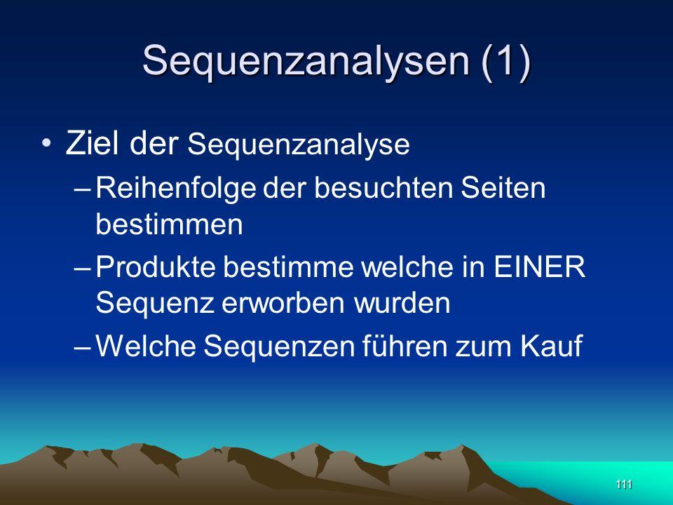 111 Sequenzanalysen (1) Ziel der Sequenzanalyse –Reihenfolge der besuchten Seiten bestimmen –Produkte bestimme welche in EINER Sequenz erworben wurden