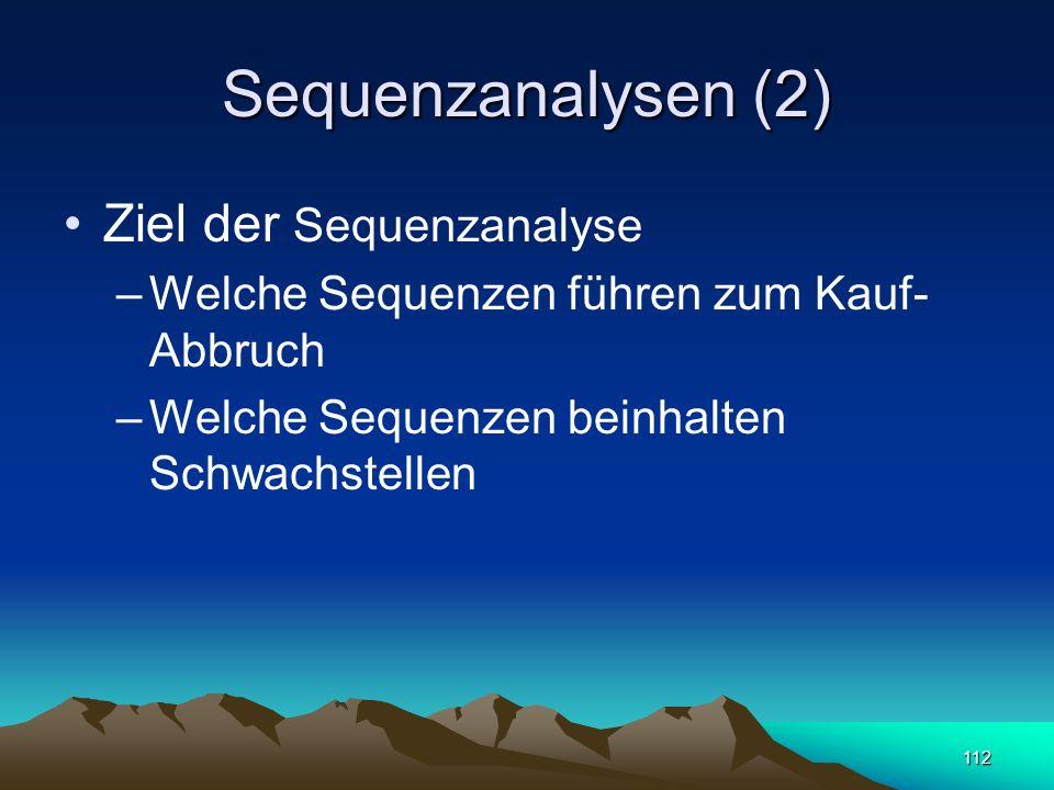 112 Sequenzanalysen (2) Ziel der Sequenzanalyse –Welche Sequenzen führen zum Kauf- Abbruch –Welche Sequenzen beinhalten Schwachstellen