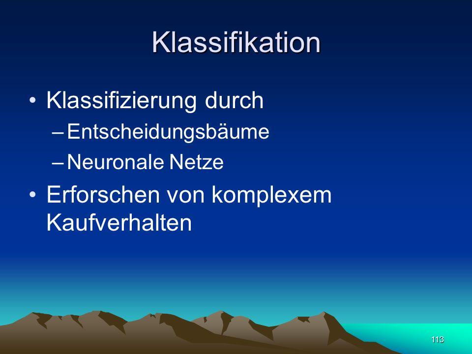 113 Klassifikation Klassifizierung durch –Entscheidungsbäume –Neuronale Netze Erforschen von komplexem Kaufverhalten