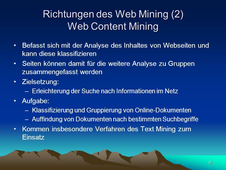 15 Richtungen des Web Mining (2) Web Content Mining Befasst sich mit der Analyse des Inhaltes von Webseiten und kann diese klassifizieren Seiten könne