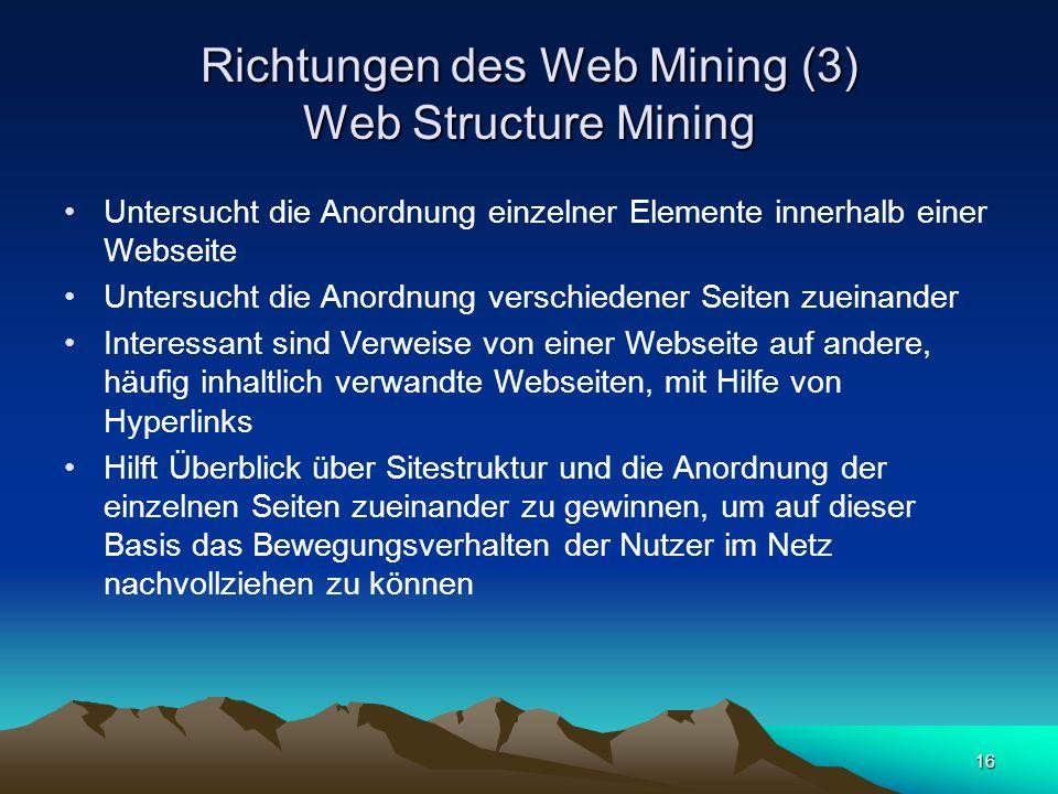 16 Richtungen des Web Mining (3) Web Structure Mining Untersucht die Anordnung einzelner Elemente innerhalb einer Webseite Untersucht die Anordnung ve