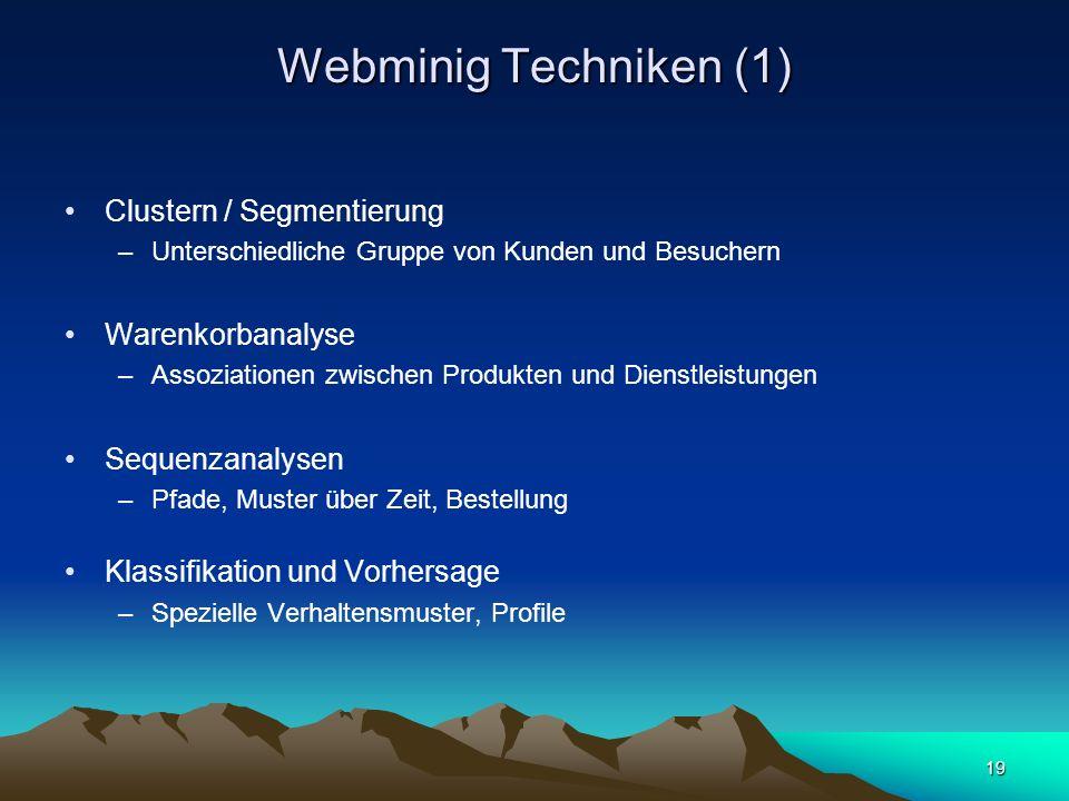 19 Webminig Techniken (1) Clustern / Segmentierung –Unterschiedliche Gruppe von Kunden und Besuchern Warenkorbanalyse –Assoziationen zwischen Produkte