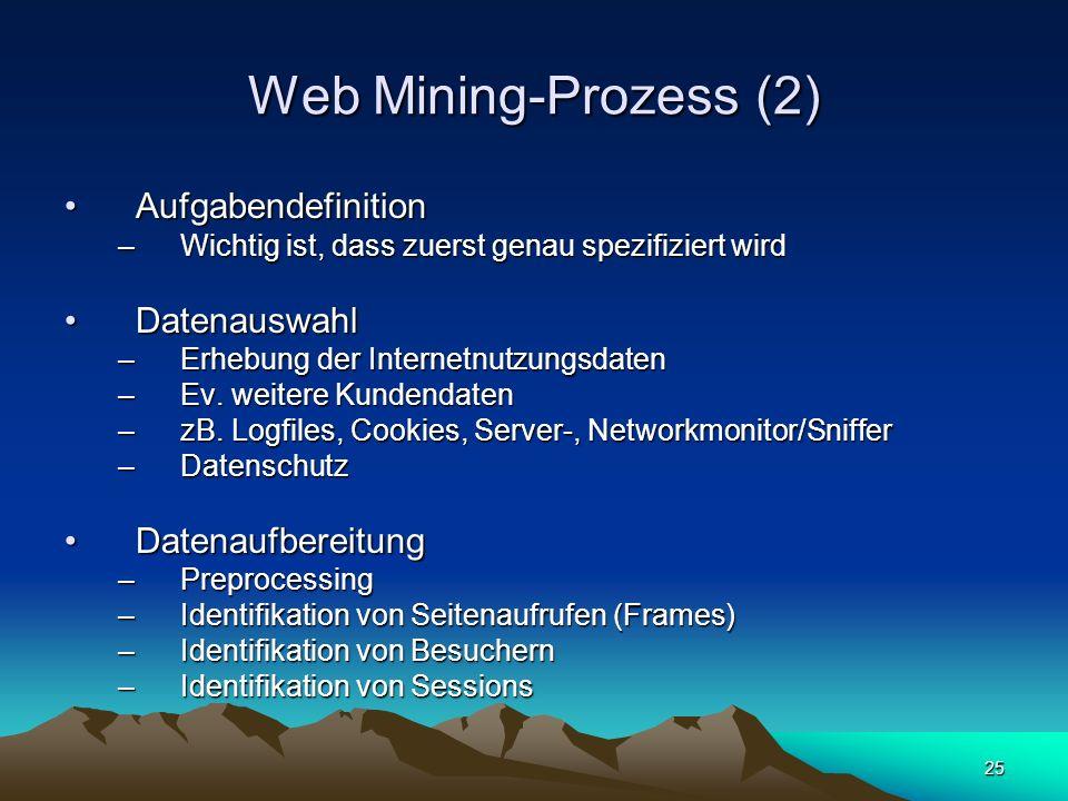 25 Web Mining-Prozess (2) AufgabendefinitionAufgabendefinition –Wichtig ist, dass zuerst genau spezifiziert wird DatenauswahlDatenauswahl –Erhebung de