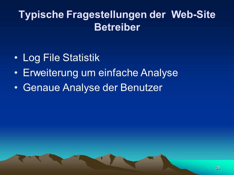 29 Typische Fragestellungen der Web-Site Betreiber Log File Statistik Erweiterung um einfache Analyse Genaue Analyse der Benutzer