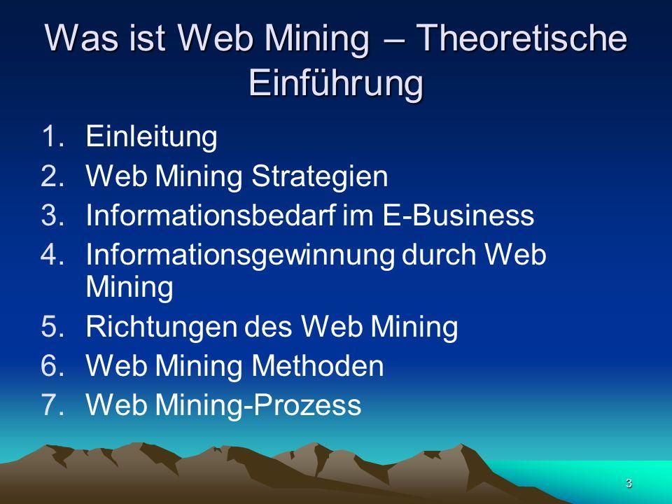 14 Richtungen des Web Mining (1) Web Mining bezeichnet die allgemeine Anwendung von Verfahren des Data Mining auf Datenstrukturen des InternetWeb Mining Mining Web Content Mining Web Structure Mining Web Usage Mining Mining Web Log Mining Integrated Web Usage Mining Usage Mining