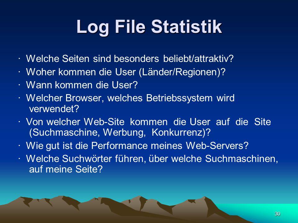 30 Log File Statistik · Welche Seiten sind besonders beliebt/attraktiv? · Woher kommen die User (Länder/Regionen)? · Wann kommen die User? · Welcher B