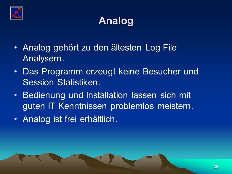 35 Analog Analog gehört zu den ältesten Log File Analysern. Das Programm erzeugt keine Besucher und Session Statistiken. Bedienung und Installation la