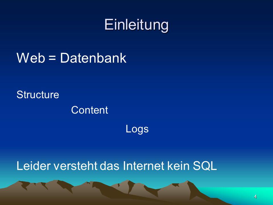 95 Technische Details von Web-Structure-Mining (1) Untersuchungsgegenstand ist –Struktur des Webs –Hierarchien und Verknüpfungen –Struktur bzw.Schema eines Dokuments das links enthält und auf das links verweisen das aus mehreren links besteht –Ähnlichkeiten und Relationen helfen bei der