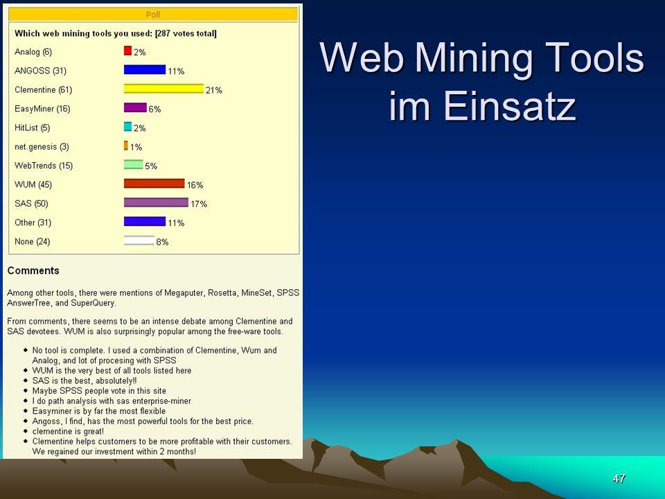 47 Web Mining Tools im Einsatz