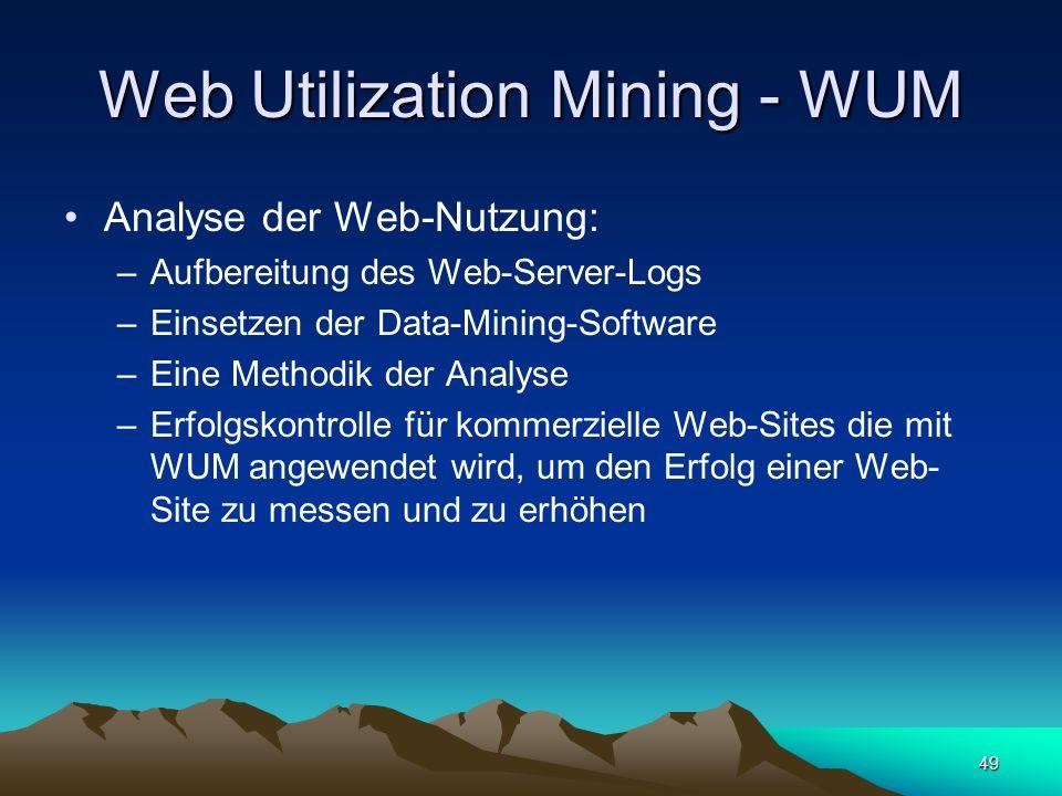 49 Web Utilization Mining - WUM Analyse der Web-Nutzung: –Aufbereitung des Web-Server-Logs –Einsetzen der Data-Mining-Software –Eine Methodik der Anal