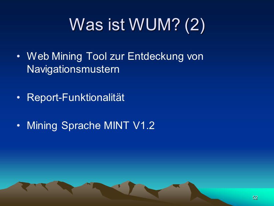 52 Was ist WUM? (2) Web Mining Tool zur Entdeckung von Navigationsmustern Report-Funktionalität Mining Sprache MINT V1.2