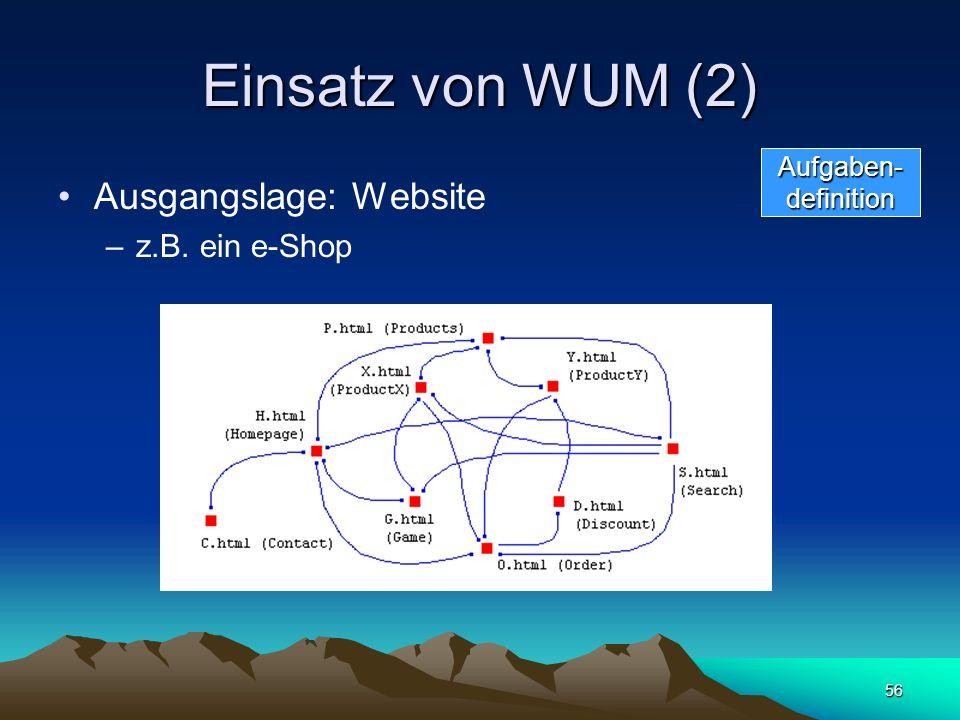 56 Einsatz von WUM (2) Ausgangslage: Website –z.B. ein e-Shop Aufgaben-definition