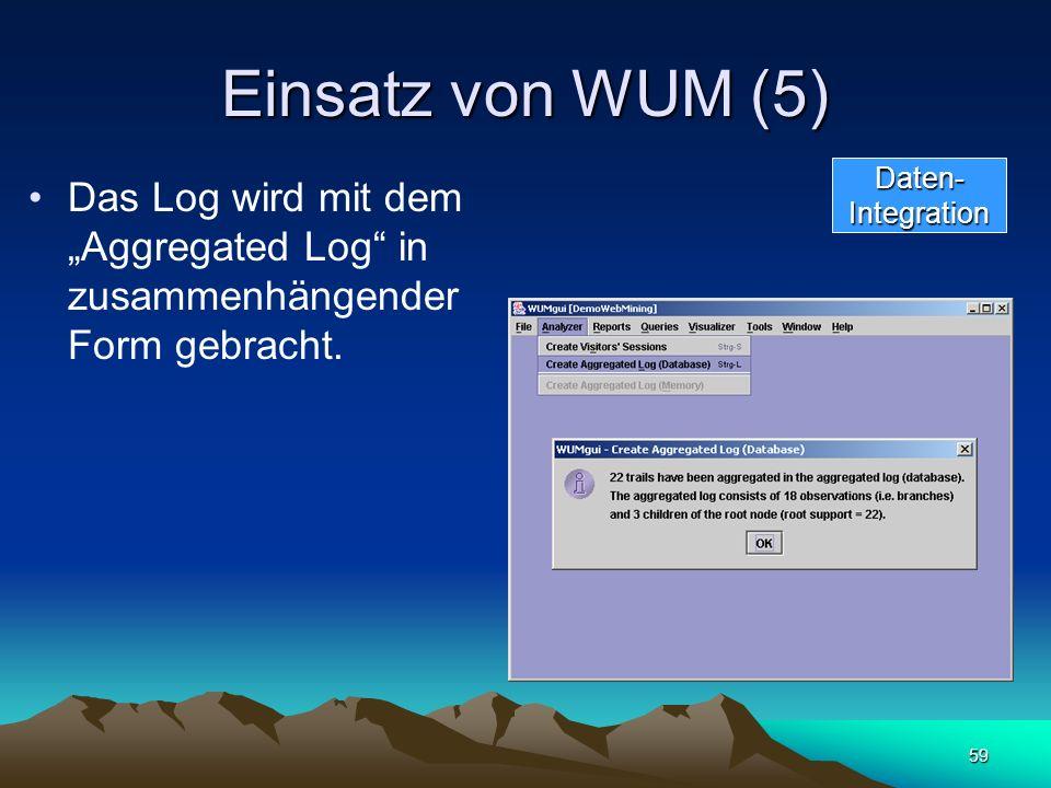 59 Einsatz von WUM (5) Das Log wird mit dem Aggregated Log in zusammenhängender Form gebracht. Daten-Integration