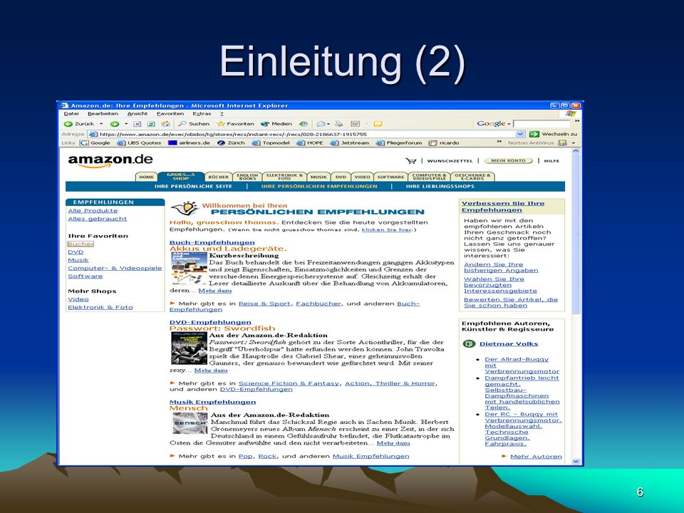 17 Richtungen des Web Mining (4) Web Usage Mining Beschäftigt sich mit dem Verhalten von Internet-Nutzern Es werden Data Mining Methoden auf die Logfiles des Webservers angewendet.