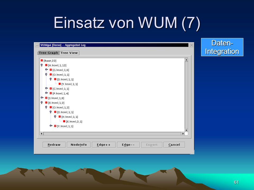 61 Einsatz von WUM (7) Daten-Integration