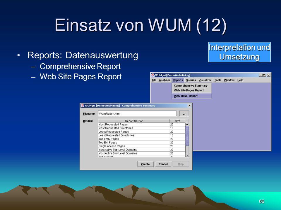 66 Einsatz von WUM (12) Reports: Datenauswertung –Comprehensive Report –Web Site Pages Report Interpretation und Umsetzung