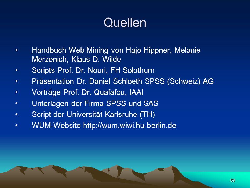 69 Quellen Handbuch Web Mining von Hajo Hippner, Melanie Merzenich, Klaus D. Wilde Scripts Prof. Dr. Nouri, FH Solothurn Präsentation Dr. Daniel Schlo