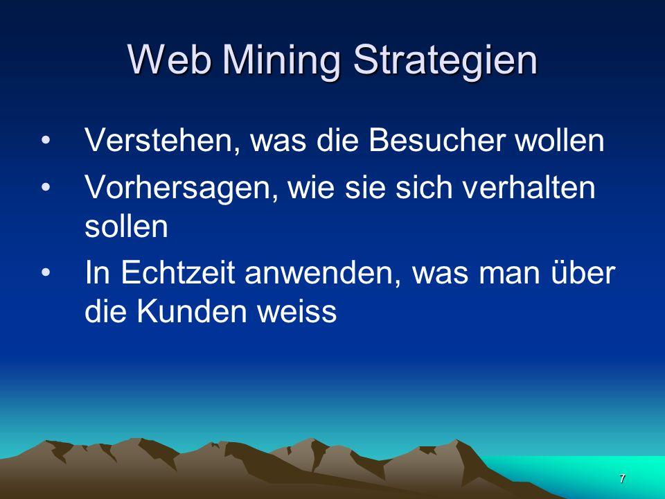 Web Mining Methoden Clustering / Segmentierung Clustering / Segmentierung Warenkorbanalyse Warenkorbanalyse Sequenzanalysen Sequenzanalysen Klassifikation Klassifikation Vorhersage Vorhersage