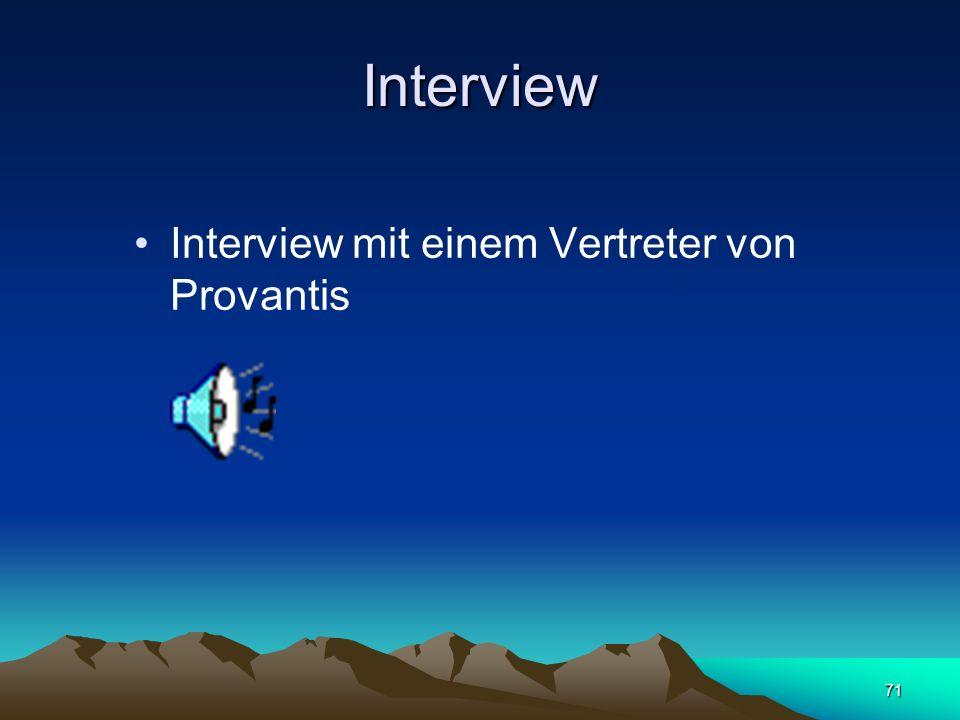 71 Interview Interview mit einem Vertreter von Provantis