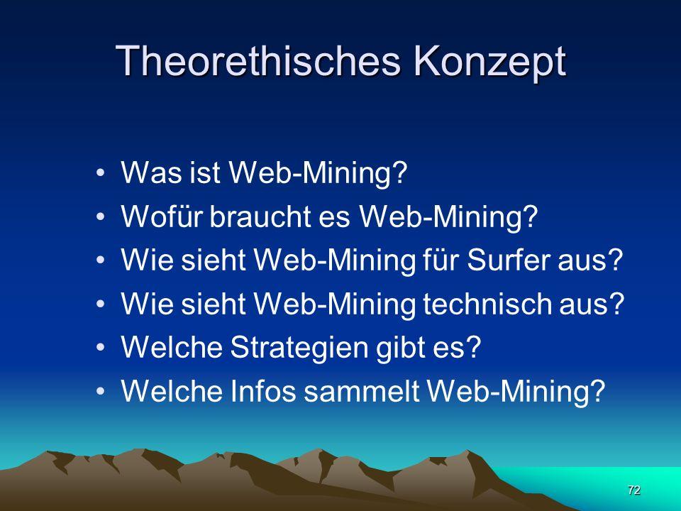 72 Theorethisches Konzept Was ist Web-Mining? Wofür braucht es Web-Mining? Wie sieht Web-Mining für Surfer aus? Wie sieht Web-Mining technisch aus? We