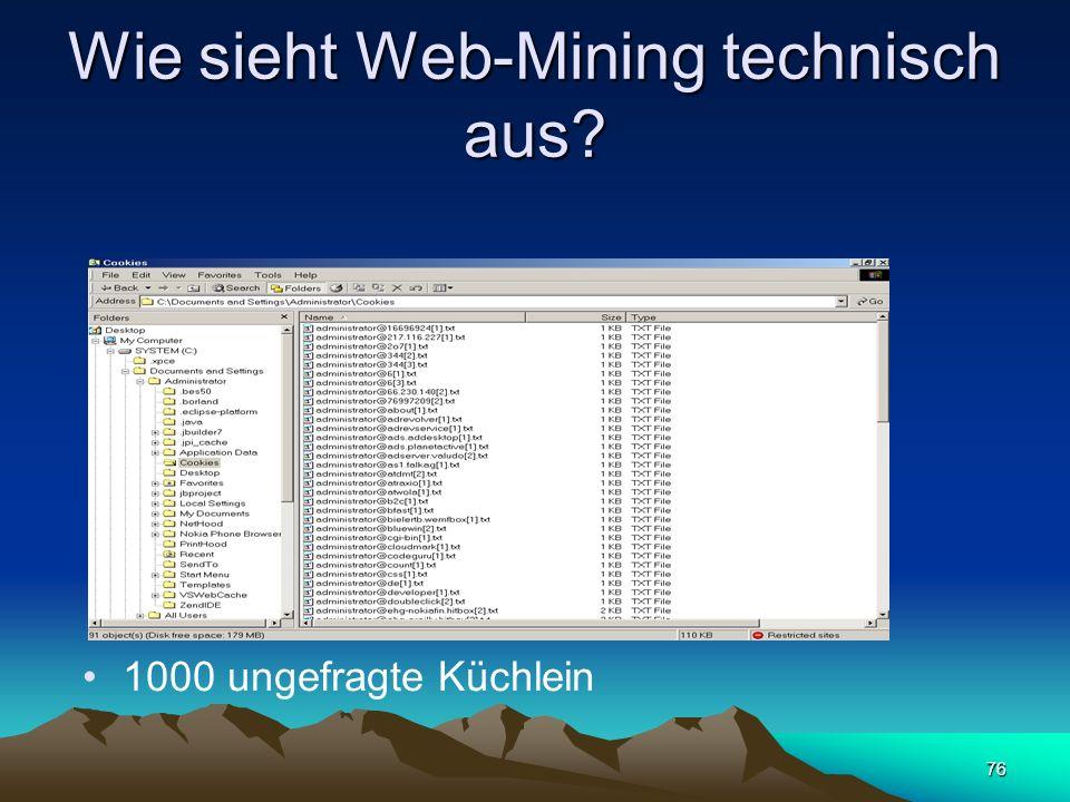 76 Wie sieht Web-Mining technisch aus? 1000 ungefragte Küchlein