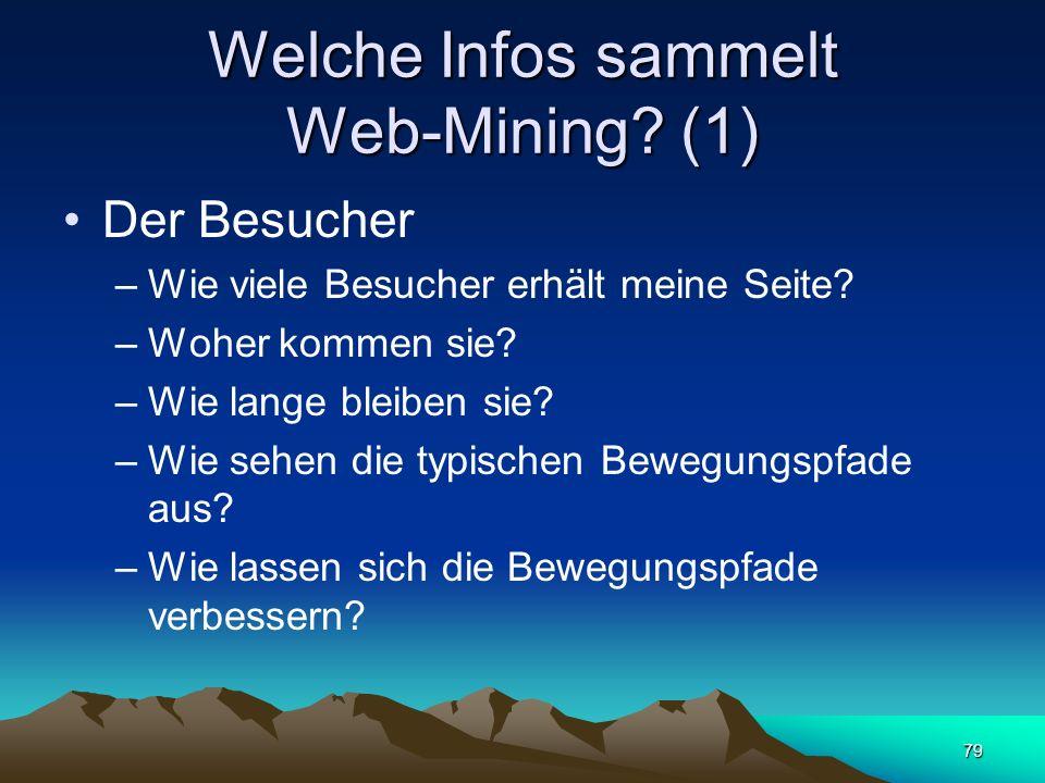 79 Welche Infos sammelt Web-Mining? (1) Der Besucher –Wie viele Besucher erhält meine Seite? –Woher kommen sie? –Wie lange bleiben sie? –Wie sehen die