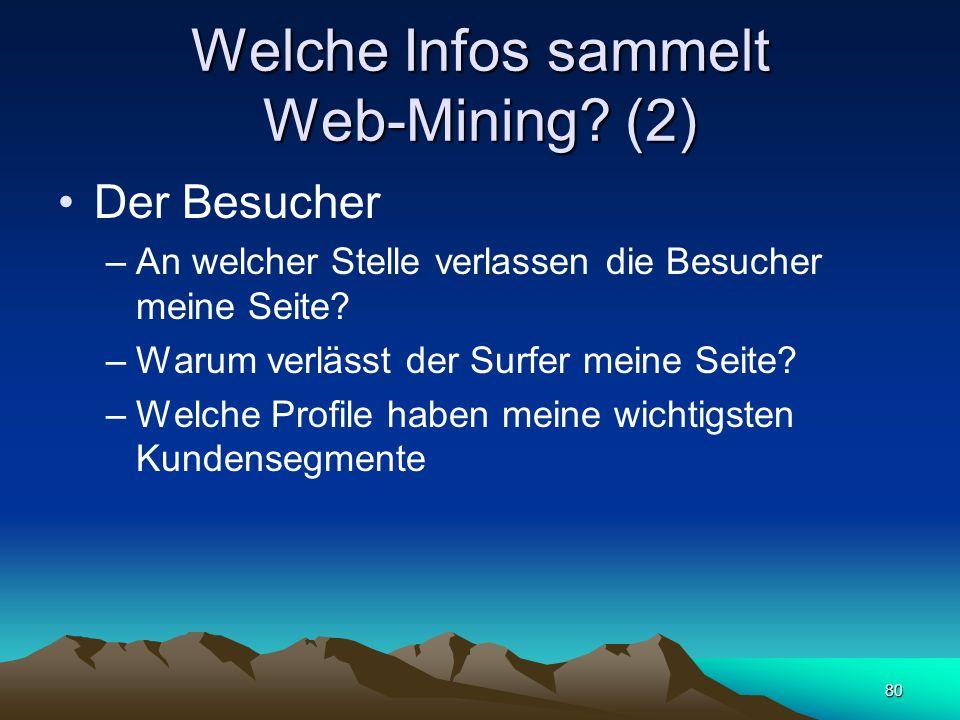 80 Welche Infos sammelt Web-Mining? (2) Der Besucher –An welcher Stelle verlassen die Besucher meine Seite? –Warum verlässt der Surfer meine Seite? –W