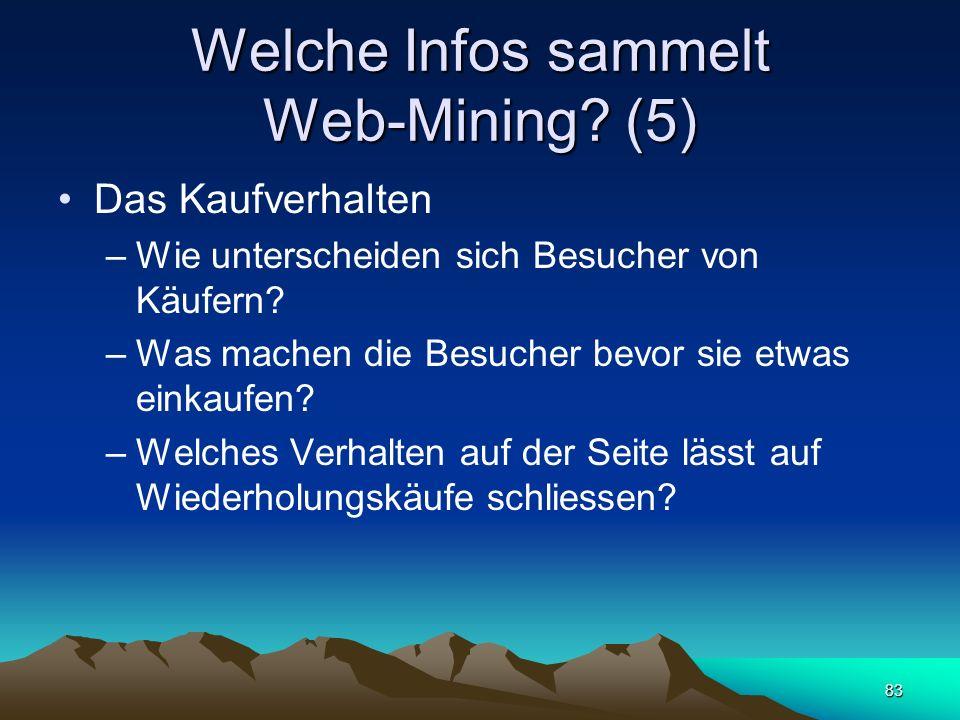 83 Welche Infos sammelt Web-Mining? (5) Das Kaufverhalten –Wie unterscheiden sich Besucher von Käufern? –Was machen die Besucher bevor sie etwas einka