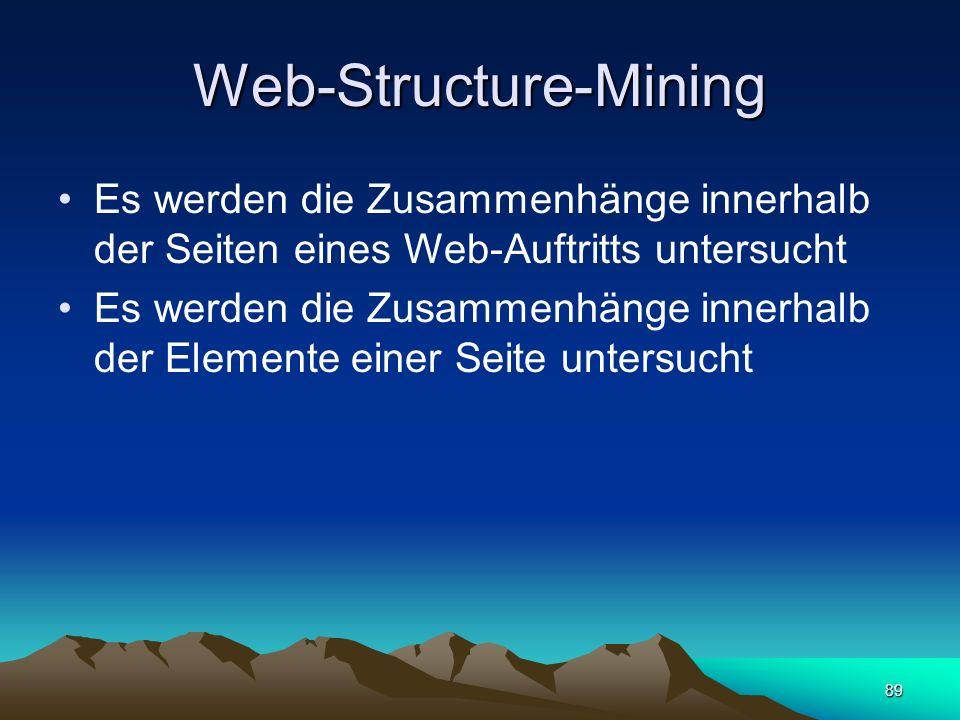 89 Web-Structure-Mining Es werden die Zusammenhänge innerhalb der Seiten eines Web-Auftritts untersucht Es werden die Zusammenhänge innerhalb der Elem