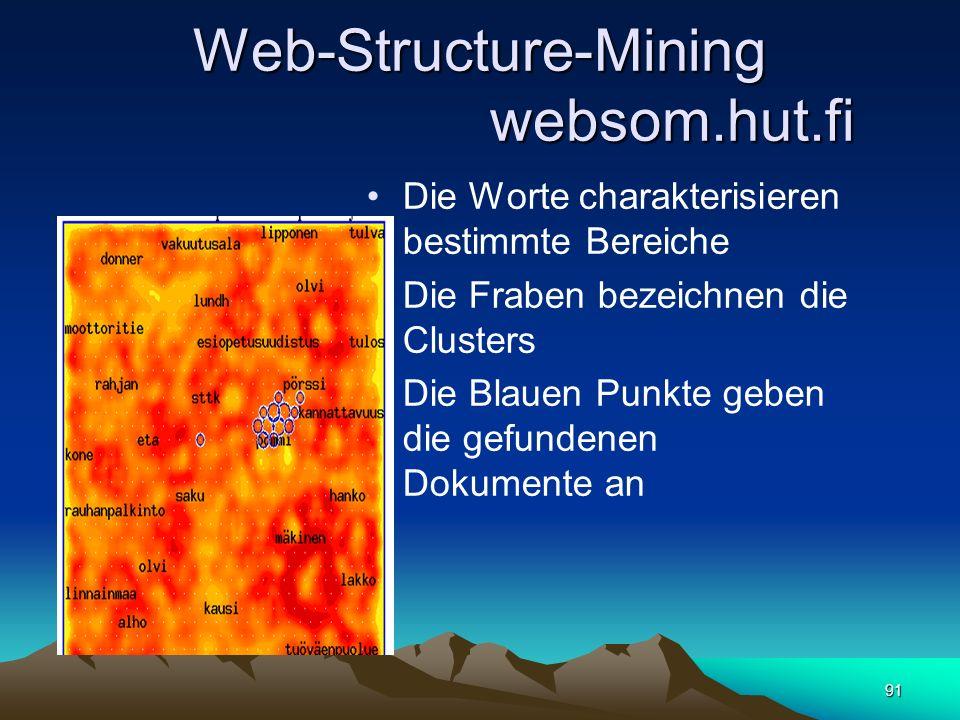 91 Web-Structure-Mining websom.hut.fi Die Worte charakterisieren bestimmte Bereiche Die Fraben bezeichnen die Clusters Die Blauen Punkte geben die gef