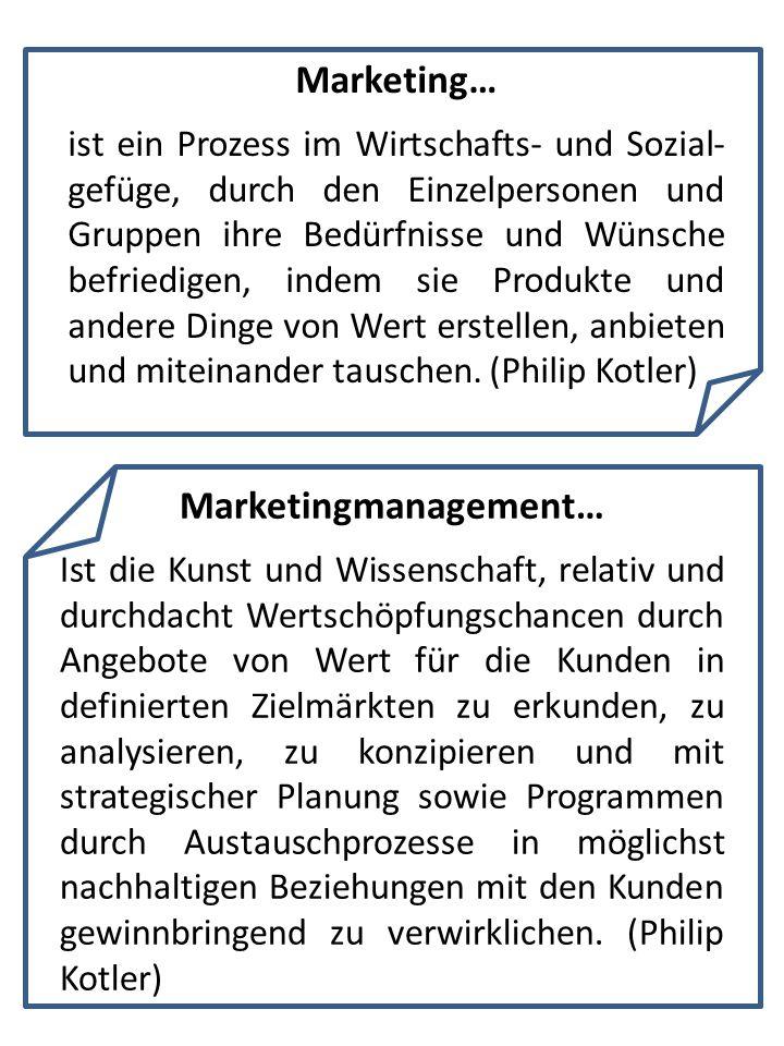 Marketing… ist ein Prozess im Wirtschafts- und Sozial- gefüge, durch den Einzelpersonen und Gruppen ihre Bedürfnisse und Wünsche befriedigen, indem si