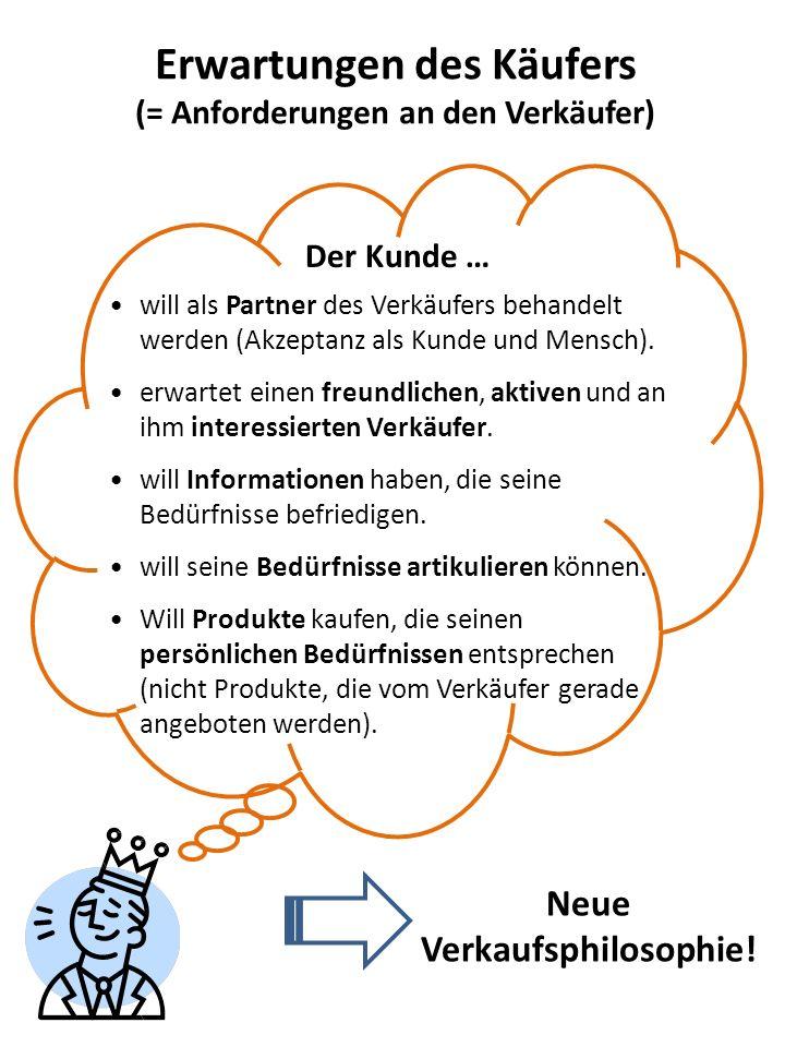 Erwartungen des Käufers (= Anforderungen an den Verkäufer) Neue Verkaufsphilosophie! will als Partner des Verkäufers behandelt werden (Akzeptanz als K
