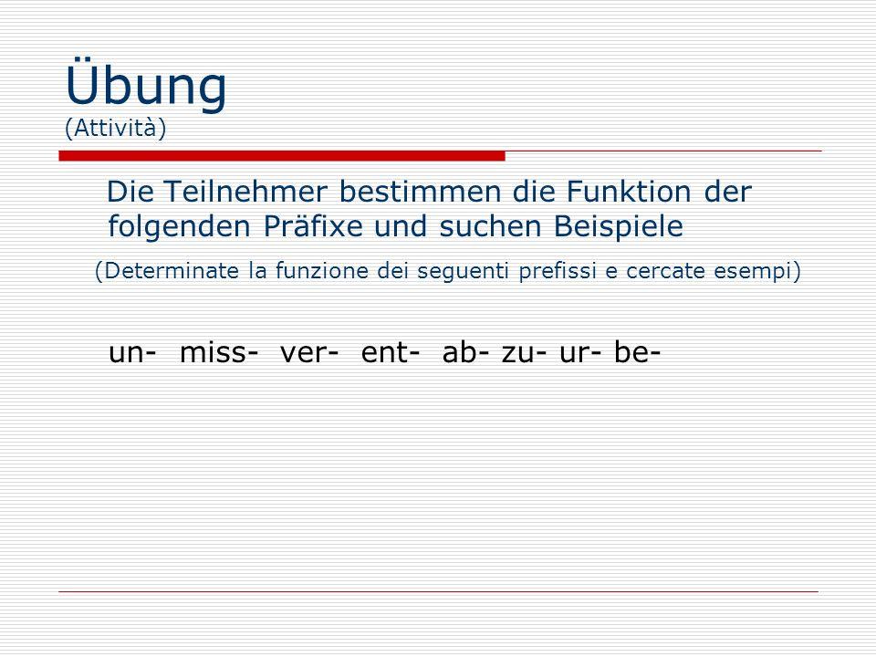 Übung (Attività) Die Teilnehmer bestimmen die Funktion der folgenden Präfixe und suchen Beispiele (Determinate la funzione dei seguenti prefissi e cercate esempi) un- miss- ver- ent- ab- zu- ur- be-