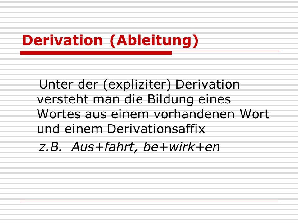 Derivation (Ableitung) Unter der (expliziter) Derivation versteht man die Bildung eines Wortes aus einem vorhandenen Wort und einem Derivationsaffix z.B.