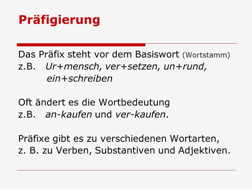 Präfigierung Das Präfix steht vor dem Basiswort (Wortstamm) z.B. Ur+mensch, ver+setzen, un+rund, ein+schreiben Oft ändert es die Wortbedeutung z.B. an