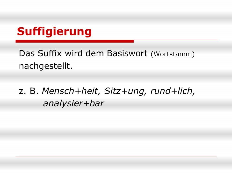 Suffigierung Das Suffix wird dem Basiswort (Wortstamm) nachgestellt. z. B. Mensch+heit, Sitz+ung, rund+lich, analysier+bar