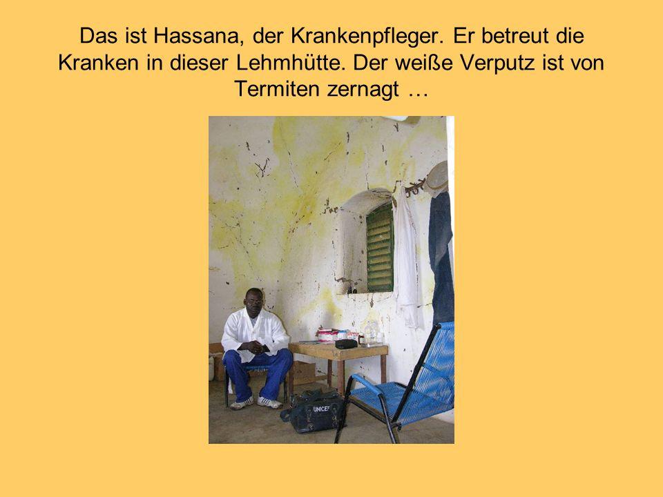 Das ist Hassana, der Krankenpfleger. Er betreut die Kranken in dieser Lehmhütte. Der weiße Verputz ist von Termiten zernagt …