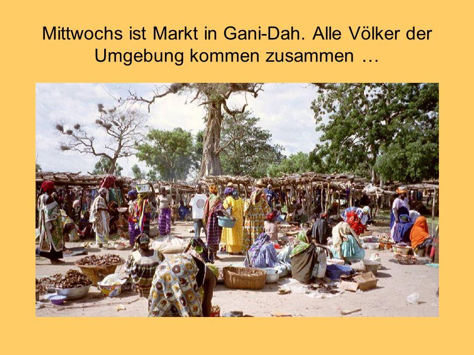 Mittwochs ist Markt in Gani-Dah. Alle Völker der Umgebung kommen zusammen …