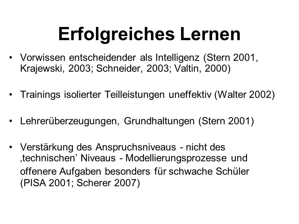 Erfolgreiches Lernen Vorwissen entscheidender als Intelligenz (Stern 2001, Krajewski, 2003; Schneider, 2003; Valtin, 2000) Trainings isolierter Teille