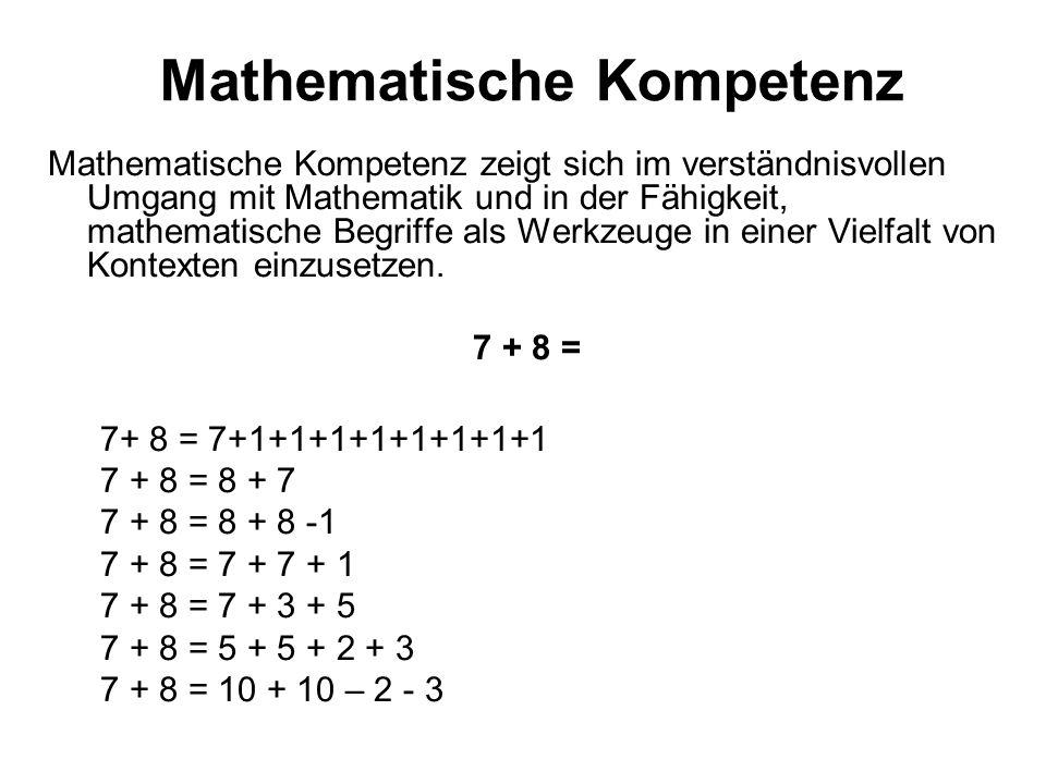 Mathematische Kompetenz Mathematische Kompetenz zeigt sich im verständnisvollen Umgang mit Mathematik und in der Fähigkeit, mathematische Begriffe als