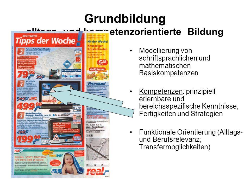 Grundbildung alltags- und kompetenzorientierte Bildung Modellierung von schriftsprachlichen und mathematischen Basiskompetenzen Kompetenzen: prinzipie