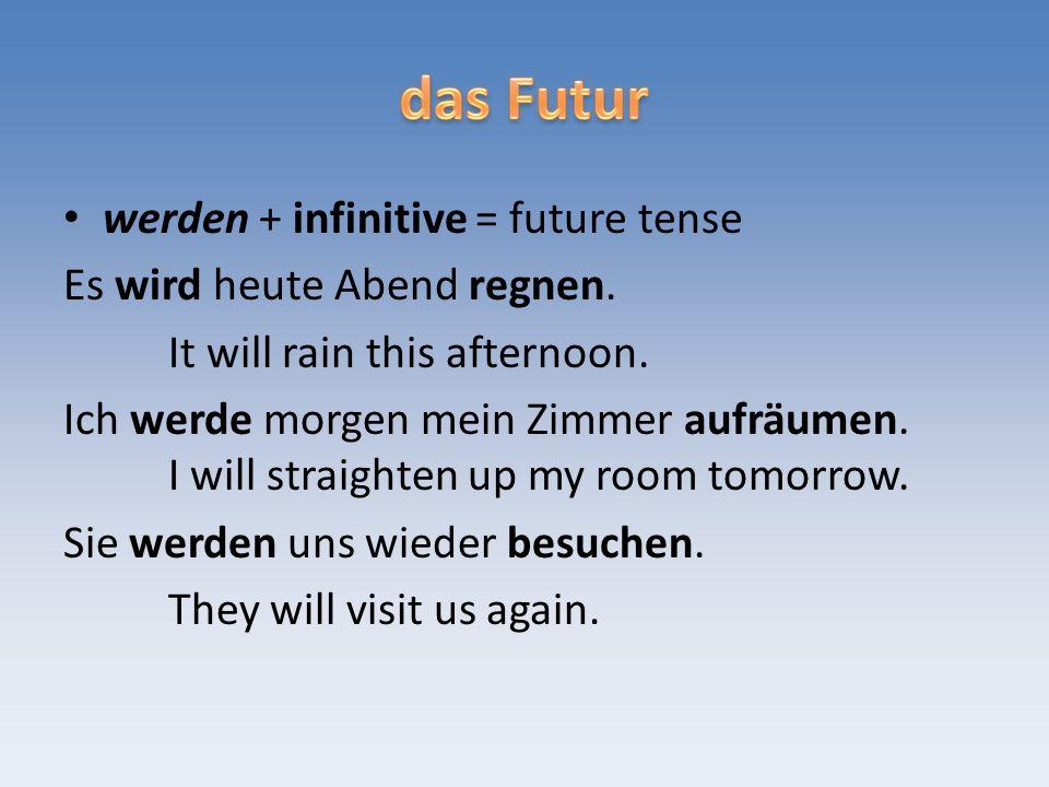 werden + infinitive = future tense Es wird heute Abend regnen.