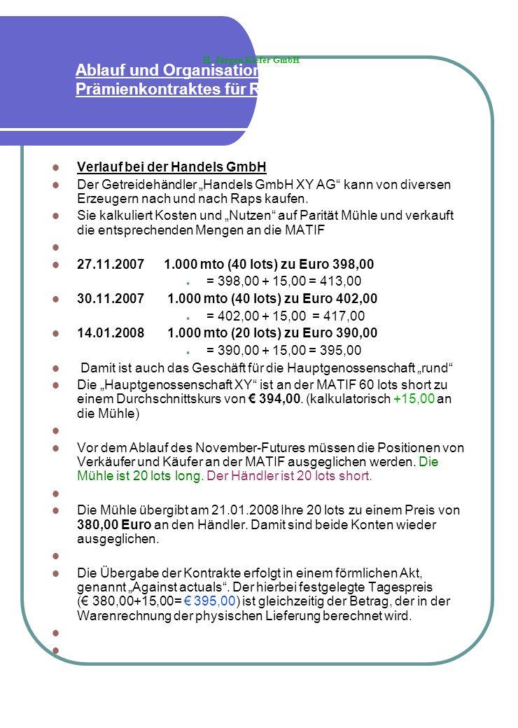 Ablauf und Organisation eines Prämienkontraktes für Raps Verlauf bei der Handels GmbH Der Getreidehändler Handels GmbH XY AG kann von diversen Erzeuge